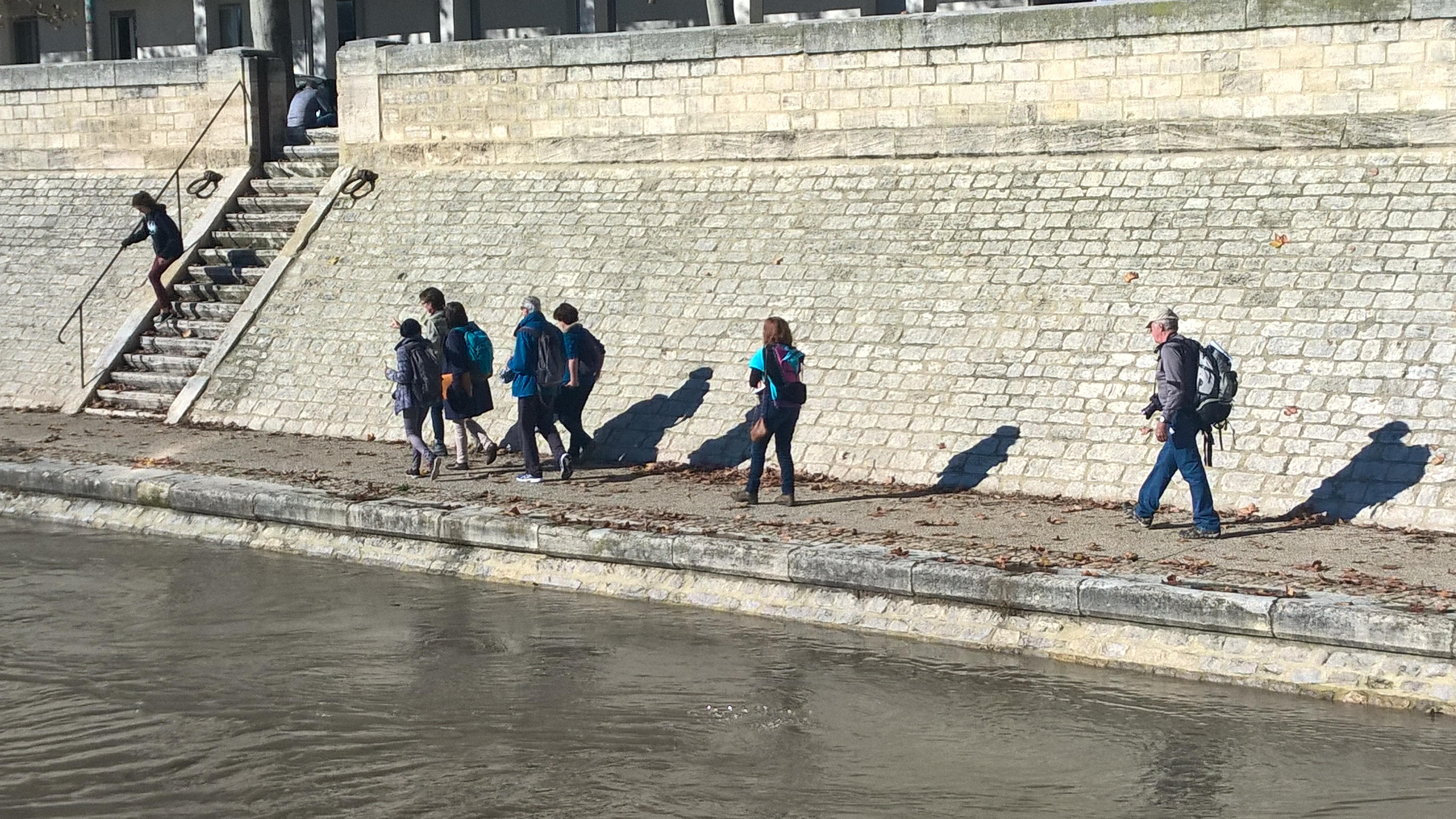 Balade et observation pendant une crue du Rhône